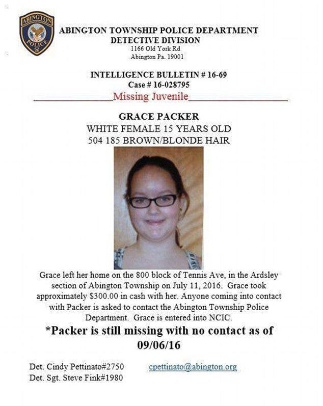Grace Packer's first missing persons poster says the teen stole $300 from her mother. Source: Bucks County District