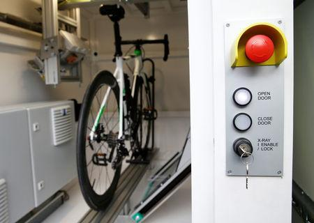 A bike is pictured in the x-ray machine after an International Cycling Union (UCI) news conference on the fight against technological fraud in Geneva, Switzerland March 21, 2018. REUTERS/Denis Balibouse