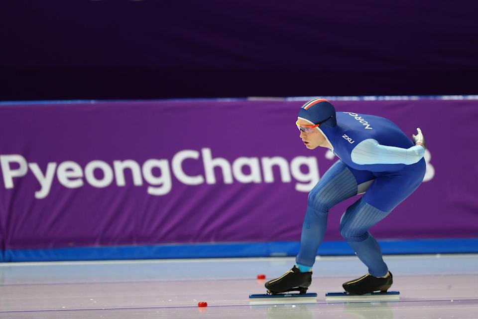 GANGNEUNG, SOUTH KOREA – FEBRUARY 11: Havard Bokko of Norway competes during the Men's 5000m Speed Skating event on day two. (Getty Images)