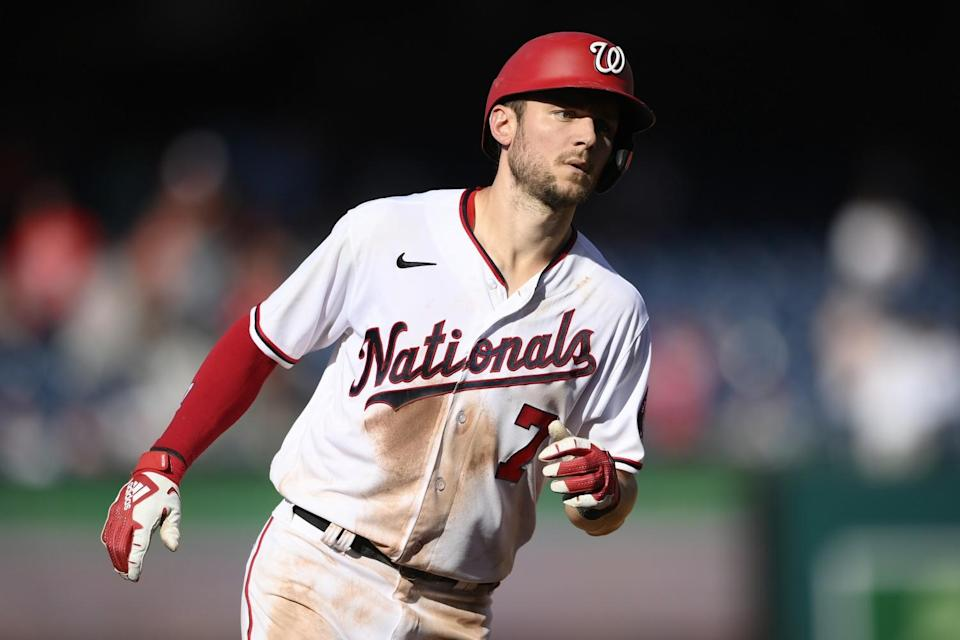 Trea Turner rounds the bases after hitting a home run.