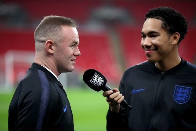 Rooney speaks to FA TV presenter Craig Mitch before kick-off