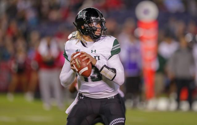 Hawaii QB Cole McDonald has some fascinating elements to his game that could excite NFL people (Getty Images)