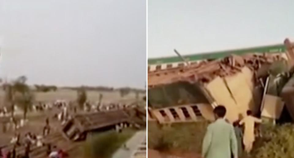 Stills of the crash scene where two express trains collided in Pakistan.