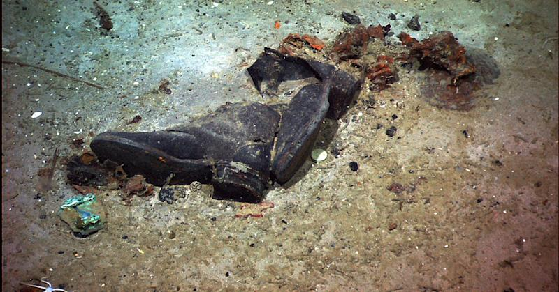 This photo provided by the Institute for Exploration, Center for Archaeological Oceanography/University of Rhode Island/NOAA Office of Ocean Exploration, shows a pair of shoes, lying in close proximity, are, while the visible remains of the victim have disappeared, suggestive evidence of where a victim of the Titanic disaster came to rest. (AP Photo/Institute for Exploration, Center for Archaeological Oceanography/University of Rhode Island/NOAA Office of Ocean Exploration)