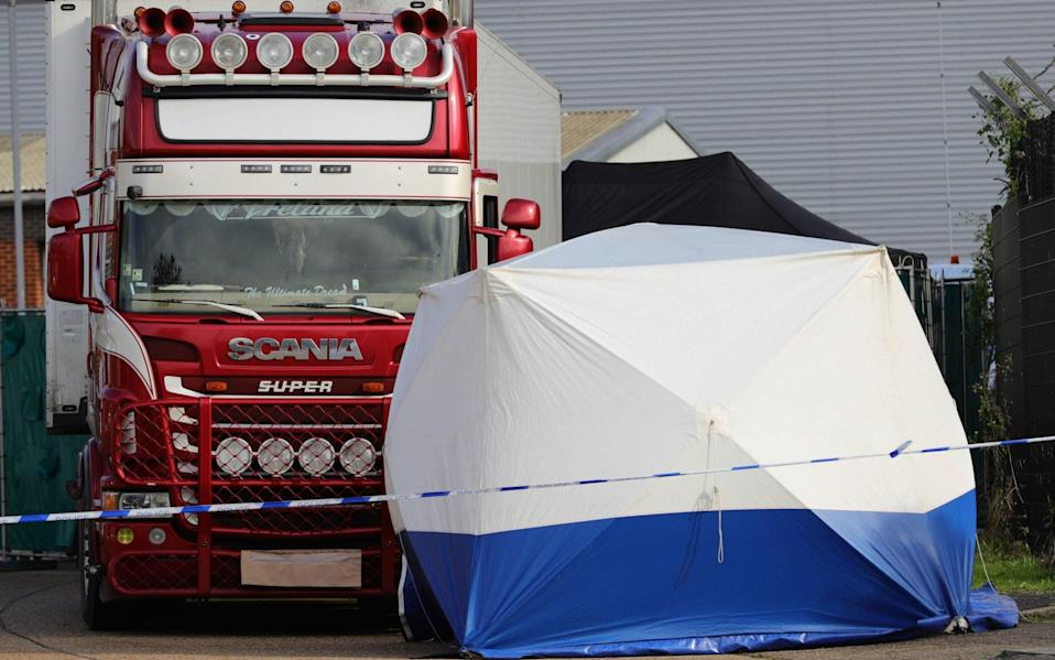 The 39 bodies were found on an industrial estate in Essex - Aaron Chown/PA