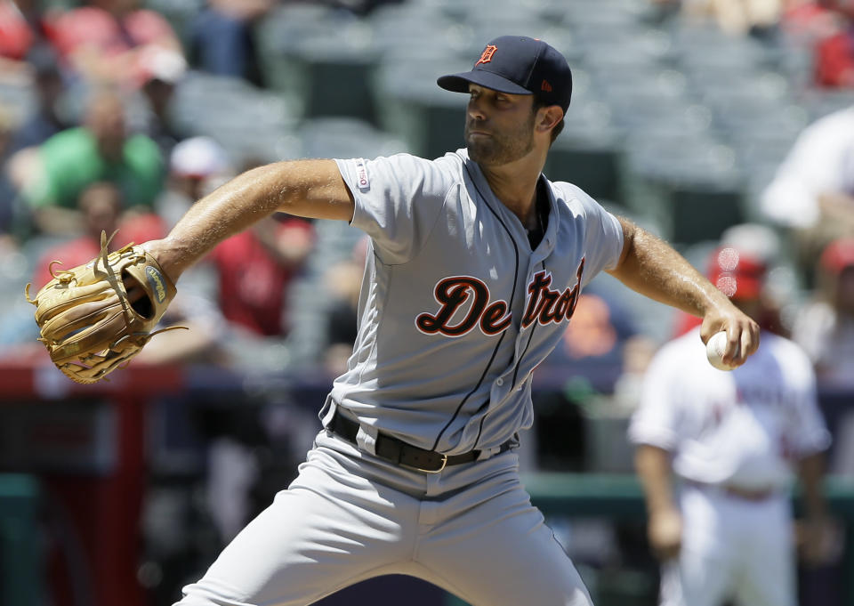 Detroit Tigers starting pitcher Daniel Norris starting pitcher Jose Suarez throws to a Los Angeles Angels batter during the first inning of a baseball game in Anaheim, Calif., Wednesday, July 31, 2019. (AP Photo/Alex Gallardo)