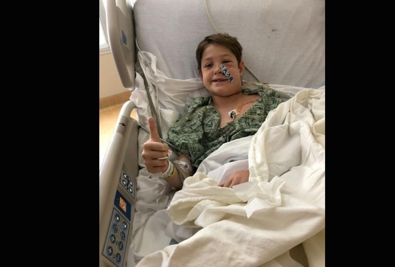 Xavier Cunningham, 10, recovers in a Missouri hospital after his head became impaled on a meat skewer