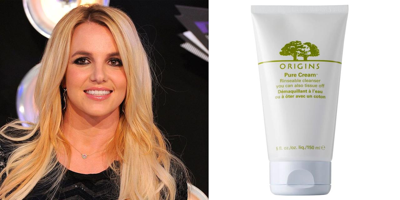 "<p>When <a href=""https://www.cosmopolitan.com/uk/beauty-hair/celebrity-hair-makeup/interviews/a45060/britney-spears-interview/"" target=""_blank"">we caught up with Britney</a> (no biggie), she gave us some advice on how to take care of your skin...</p><p>""I always remove my makeup and cleanse my face every night, I have to as I do a lot of shows; I perform four times a week so I can't go to bed without doing it."" Britney explained.</p><p>""First I'll remove my makeup with a wipe, then I love to use the Origins Cleanser. I think Origins are really good as they're made with more natural ingredients, but still have a lot of science behind the products. The cleanser always leaves my face feeling really soft, and I can get rid of that 'caked in makeup' feeling.""</p><p><em>Origins Cleansing Milk, £25</em></p><p><a class=""body-btn-link"" href=""https://www.lookfantastic.com/origins-make-a-difference-rejuvenating-cleansing-milk-150ml/11138342.html"" target=""_blank"">buy now</a></p>"