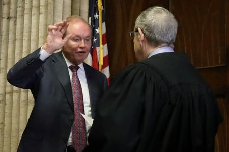 Former U.S. Attorney Dan Webb takes the oath of special prosecutor during a status hearing concerning actor Jussie Smollett at the Leighton Criminal Court building in Chicago