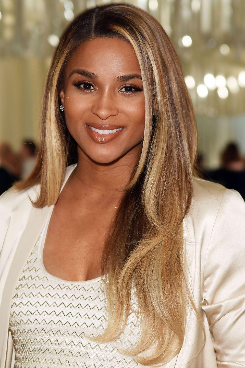 """<p>Ciara is also a big fan of shimmering <a href=""""http://www.goodhousekeeping.com/beauty/hair/a36372/color-highlights-to-choose/"""" rel=""""nofollow noopener"""" target=""""_blank"""" data-ylk=""""slk:blonde highlights"""" class=""""link rapid-noclick-resp"""">blonde highlights</a>, even maintaining them through pregnancy.</p>"""
