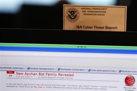 A work station is pictured at the U.S. Department of Homeland Security's National Cybersecurity & Communications Integration Center (NCCIC) in Arlington Virginia