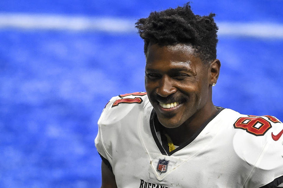 Antonio Brown #81 of the Tampa Bay Buccaneers smiles after the game against the Detroit Lions at Ford Field on December 26, 2020 in Detroit, Michigan. (Photo by Nic Antaya/Getty Images)