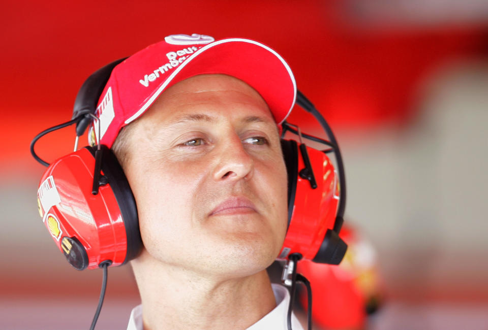 German former Formula One driver and seven-time Formula 1 World Champion Michael Schumacher, from Germany looks on from  the Ferrari team box after the first practice session at the Montmelo racetrack, near Barcelona, Spain, Friday, May 11, 2007. Schumacher is now a Ferrari consultant but he is not ruling out a return to Formula One. (AP Photo/Daniel Ochoa de Olza)