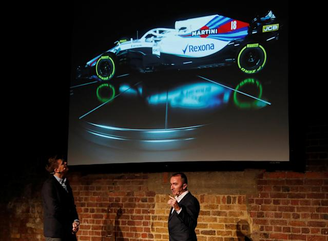 F1 Formula One - Williams Formula One Launch - London, Britain - February 15, 2018 Jake Humphrey and Williams' Chief Technical Officer Paddy Lowe during the launch Action Images via Reuters/Paul Childs