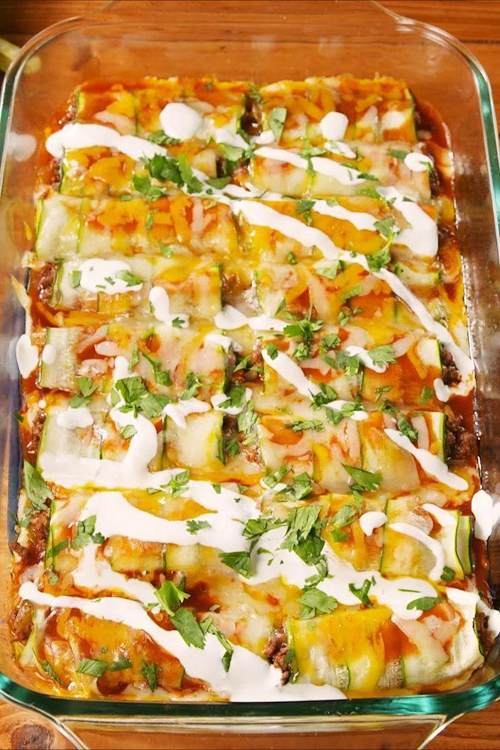 """<p>Low-carb enchiladas for the win!</p><p>Get the recipe from <a href=""""https://www.delish.com/cooking/recipe-ideas/a22804990/beef-zucchini-enchiladas-recipe/"""" rel=""""nofollow noopener"""" target=""""_blank"""" data-ylk=""""slk:Delish"""" class=""""link rapid-noclick-resp"""">Delish</a>. </p>"""