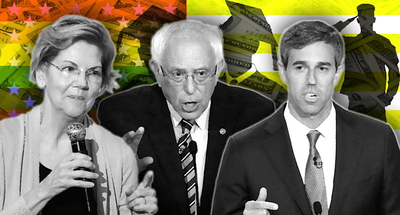 Elizabeth Warren, Bernie Sanders and Beto O'Rourke. (Photo illustration: Yahoo News; photos: Jeremy Hogan/SOPA Images/LightRocket via Getty Images, AP(2), Getty Images (3), AP)