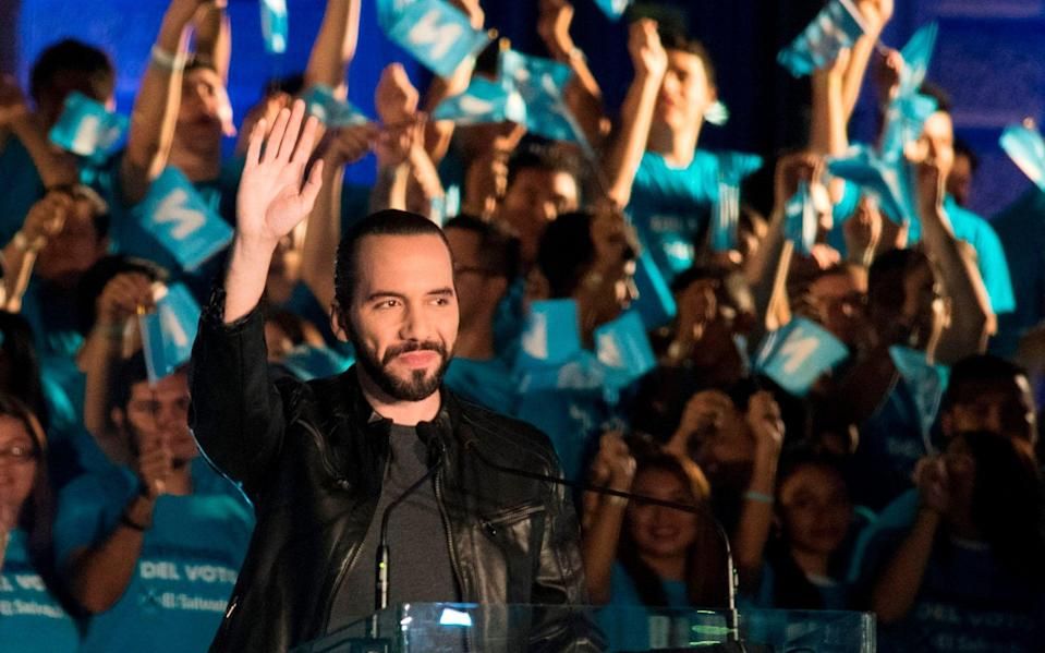 Salvadorean presidential candidate Nayib Bukele, of the Great National Alliance