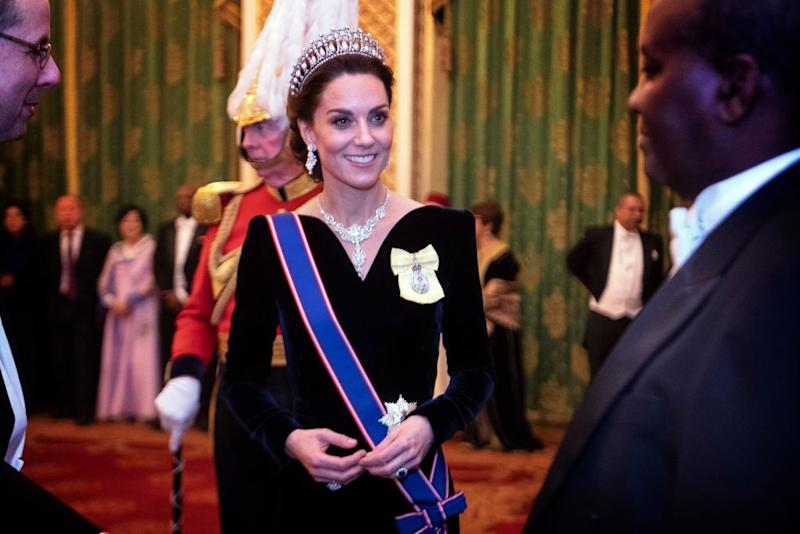The Duchess also wore a blue sash with her decorations [Photo: Getty]