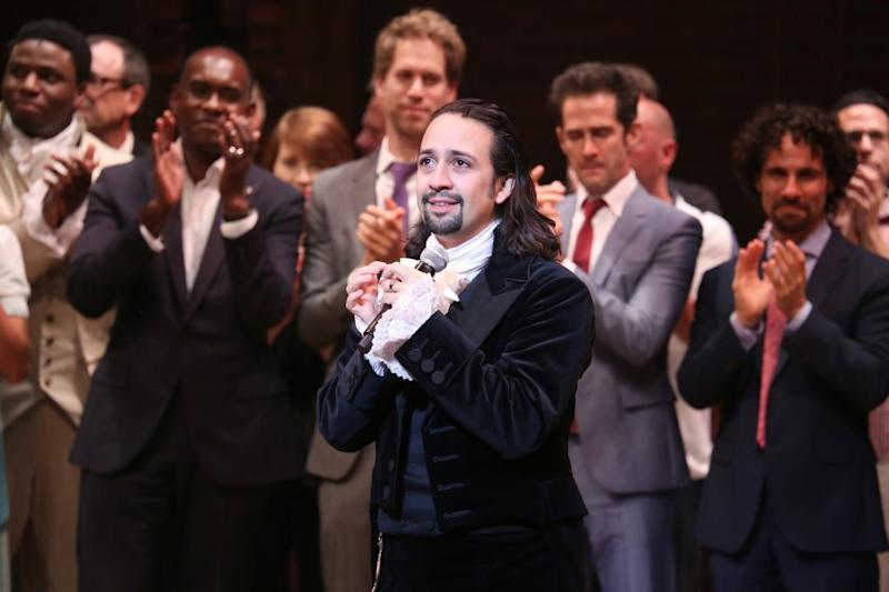 Lin-Manuel Miranda at Broadway opening night performance of 'Hamilton.'