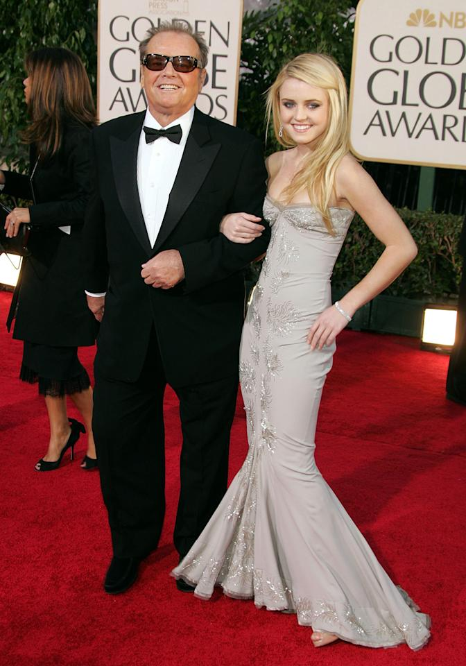 Jack Nicholson and daughter Lorraine Nicholson arrive at the 64th Annual Golden Globe Awards at the Beverly Hilton on January 15, 2007 in Beverly Hills, California.  (Photo by Frazer Harrison/Getty Images)