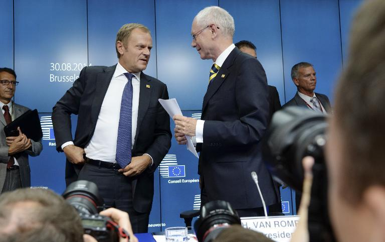 With his direct manner and piercing blue eyes, Donald Tusk (L), the 57-year-old former Polish prime minister, promises a contrast with Herman Van Rompuy (R), the outgoing council chief and the first person to hold the post
