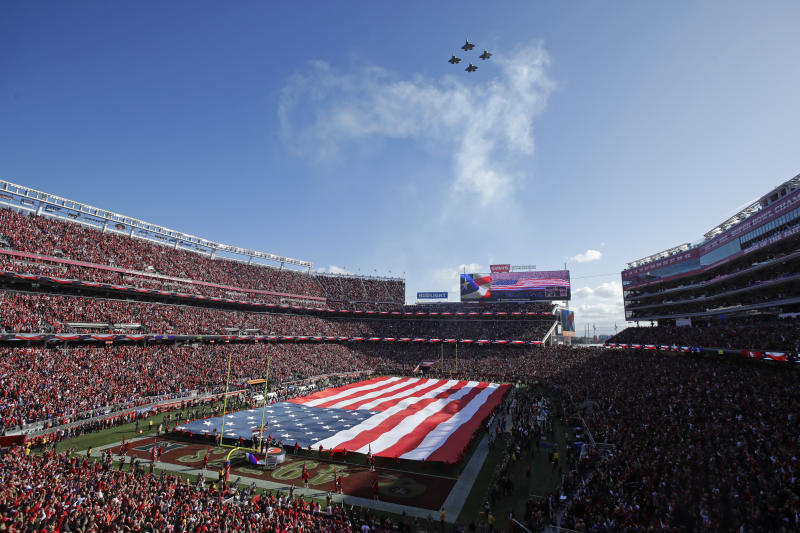 The playing of the national anthem at sporting events provides athletes one of the highest-profile platforms for protest imaginable. (AP Photo/Jeff Chiu)