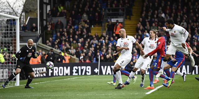 <p>Watford's Troy Deeney scores an own goal and the first for Crystal Palace </p>