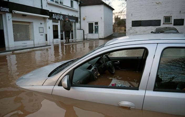 A flooded street in Tenbury Wells, Worcestershire. (AFP via Getty Images)