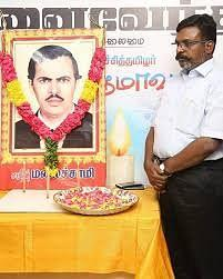 Thirumavalavan paying respects to the late VCK founder Malaichamy.