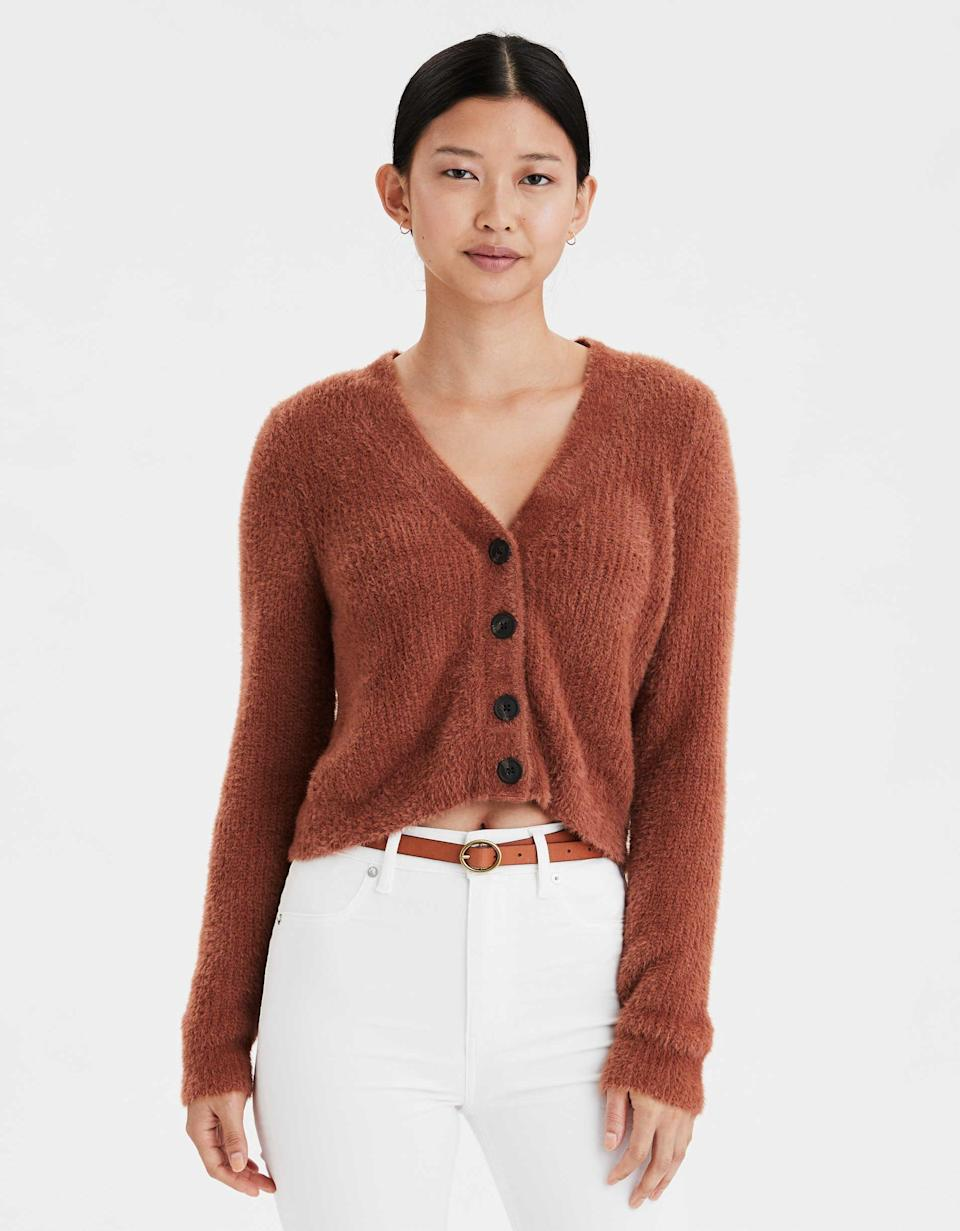 """<p><strong>American Eagle</strong></p><p>ae.com</p><p><strong>$23.97</strong></p><p><a href=""""https://go.redirectingat.com?id=74968X1596630&url=https%3A%2F%2Fwww.ae.com%2Fus%2Fen%2Fp%2Fwomen%2Fsweaters-cardigans%2Fcardigans%2Fae-eyelash-cropped-cardigan%2F1341_8621_211%3FisFiltered%3Dfalse%26nvid%3Dplp%253Acat10049%26menu%3Dcat4840004&sref=https%3A%2F%2Fwww.cosmopolitan.com%2Fstyle-beauty%2Ffashion%2Fg30933395%2Ffall-fashion-trends-2020%2F"""" rel=""""nofollow noopener"""" target=""""_blank"""" data-ylk=""""slk:Shop Now"""" class=""""link rapid-noclick-resp"""">Shop Now</a></p><p>Start stocking up on cozy cardigans now. You'll definitely want this one in your closet. </p>"""
