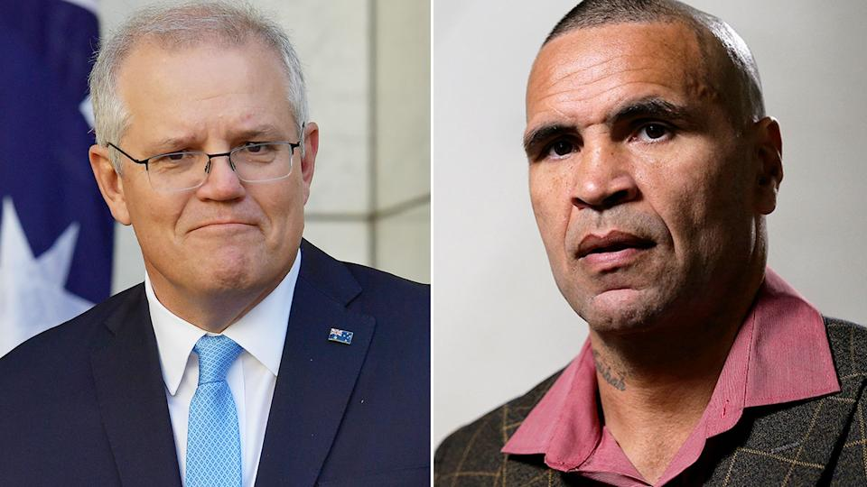 Seen here, Australian PM Scott Morrison and boxer Anthony Mundine.