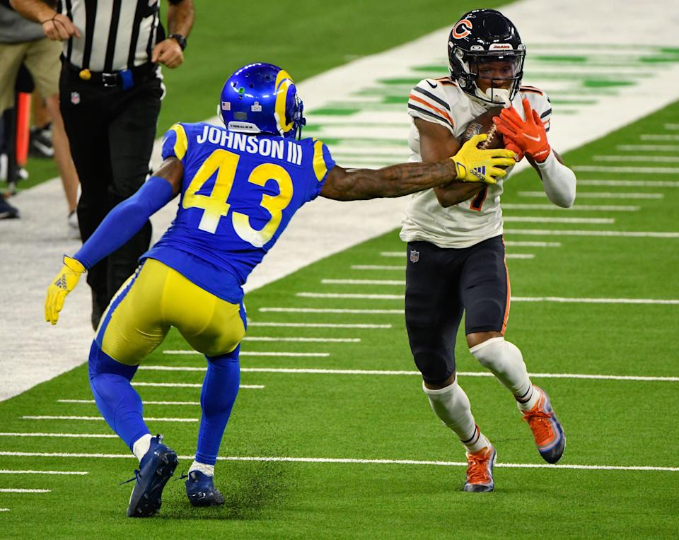 Chicago Bears receiver Darnell Mooney tries to run past Los Angeles Rams safety John Johnson on Oct. 26, 2020 in Inglewood, Calif.