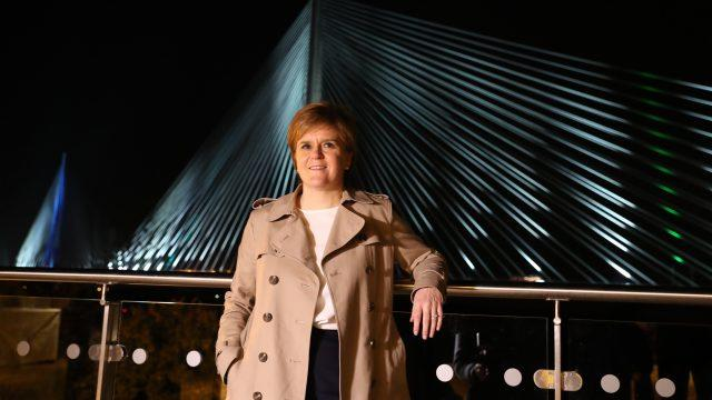 First Minister of Scotland Nicola Sturgeon, stands in front of the new Queensferry Crossing