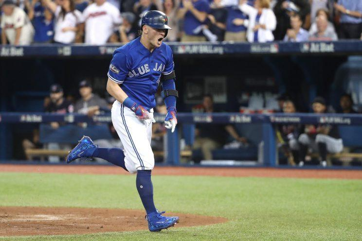 Josh Donaldson put the Blue Jays on the board early in Game 4 of the ALCS. (Getty Images/Tom Szczerbowski)