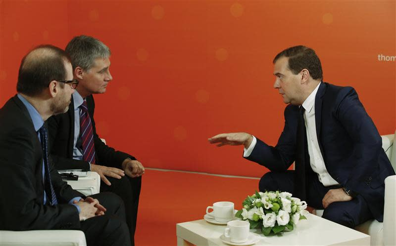 Russia's Prime Minister Dmitry Medvedev speaks during an interview with Reuters in Moscow