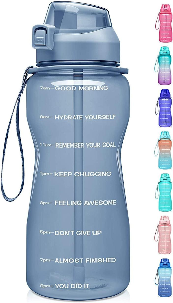 <p>This <span>Fidus Large Half Gallon Motivational Water Bottle</span> ($21) will easily fit in your everyday tote or in the cup holder compartment of your car.</p>