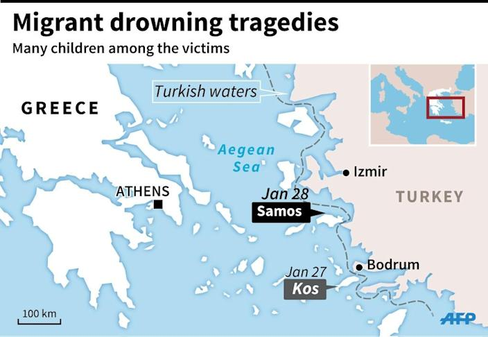 Map of the Aegean Sea, locating migrant drowning tragedies off Samos and Kos. (AFP Photo/Philippe MOUCHE, Alain BOMMENEL, Paz PIZARRO)
