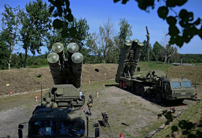 FILE PHOTO: Russian S-400 missile air defence systems are seen during a training exercise in Kaliningrad region