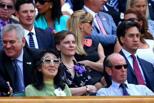LONDON, ENGLAND - JULY 07: Prince Edward, Duke of Kent and Dame Mitsuko Uchida attend the Gentlemen's Singles Final match between Andy Murray of Great Britain and Novak Djokovic of Serbia on day thirteen of the Wimbledon Lawn Tennis Championships at the All England Lawn Tennis and Croquet Club on July 7, 2013 in London, England. (Photo by Clive Brunskill/Getty Images)