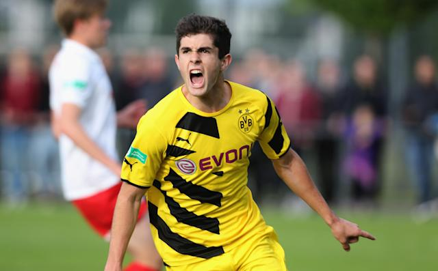 Christian Pulisic celebrates scoring for Dortmund during a B-Juniors Bundesliga semifinal match against RB Leipzig in 2015. (Getty)
