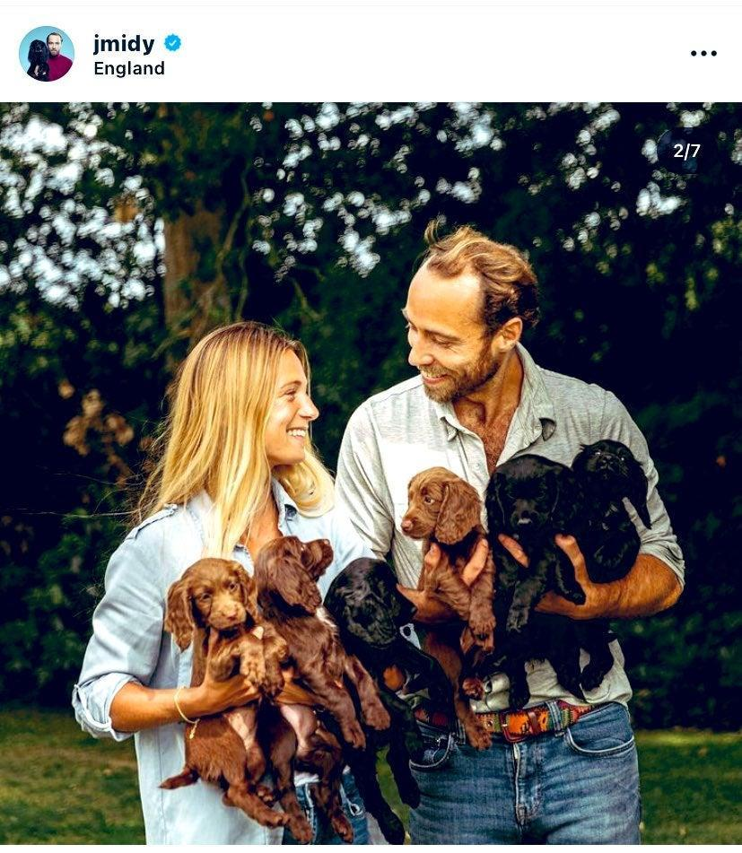 James Middleton and partner Alizee Thevenet announced Luna's litter of puppies on InstagramJames Middleton