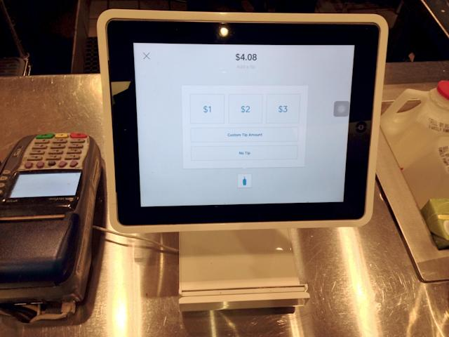 Square's tip screen. (Wikimedia Commons)