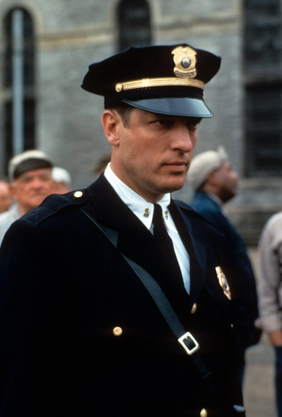 Clancy Brown in a uniform in a scene from the film 'The Shawshank Redemption', 1994. (Photo by Castle Rock Entertainment/Getty Images)