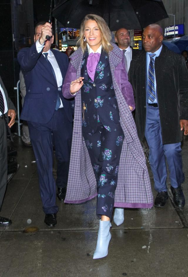 Blake Lively in printed suit in the rain
