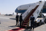 Secretary of State Antony Blinken boards his plane upon departure from Cairo International Airport, Wednesday, May 26, 2021, in Cairo, Egypt. (AP Photo/Alex Brandon, Pool)