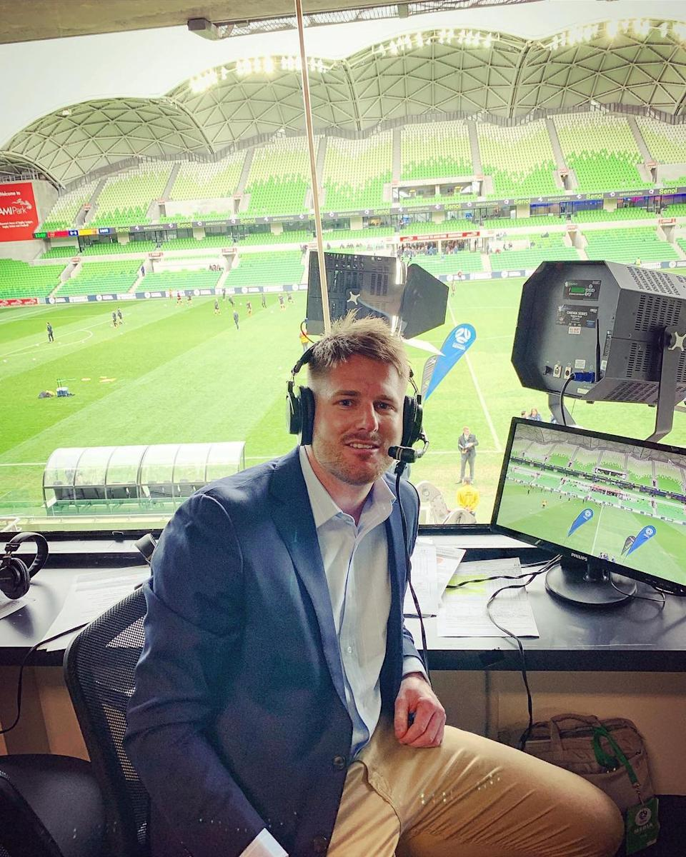 Bryce working as a freelance commentator for Football Victoria