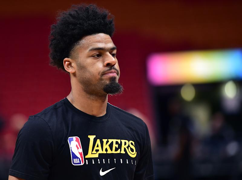Dec 13, 2019; Miami, FL, USA; Los Angeles Lakers guard Quinn Cook (2) warms up before a game against the Miami Heat at American Airlines Arena. Mandatory Credit: Steve Mitchell-USA TODAY Sports