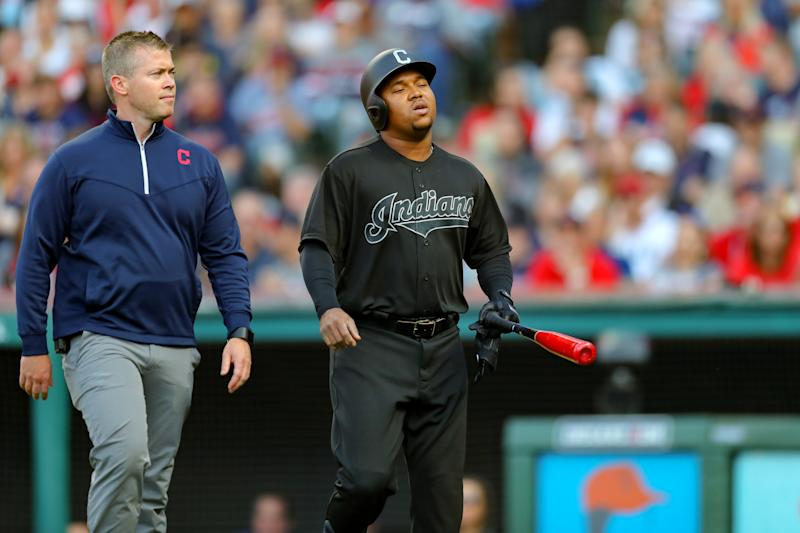 CLEVELAND, OH - AUGUST 24: Cleveland Indians third baseman Jose Ramirez (11) leaves the field with a trainer during the first inning of the Major League Baseball game between the Kansas City Royals and Cleveland Indians on August 24, 2019, at Progressive Field in Cleveland, OH. Ramirez left the game with right wrist discomfort. (Photo by Frank Jansky/Icon Sportswire via Getty Images)