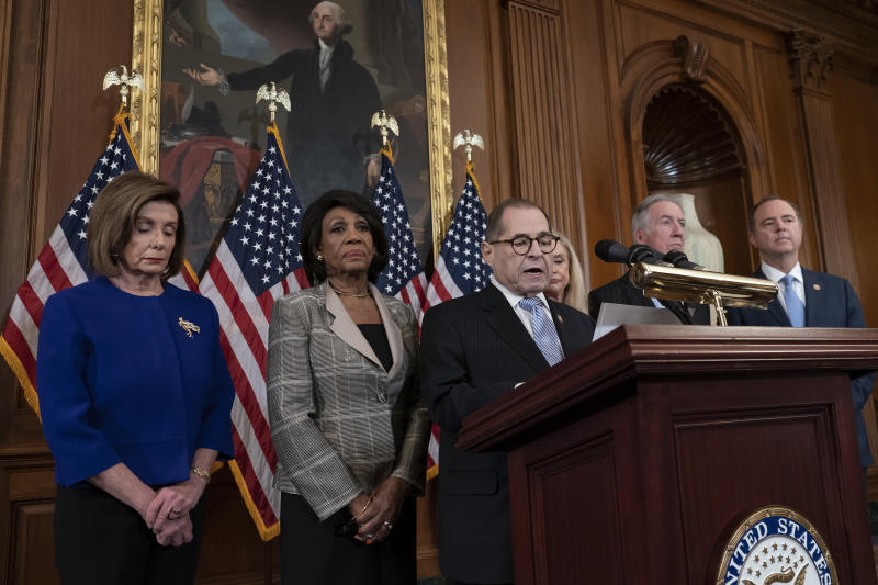 From left, Speaker of the House Nancy Pelosi, D-Calif., House Financial Services Committee Chairwoman Maxine Waters, D-Calif., House Judiciary Committee Chairman Jerrold Nadler, D-N.Y., House Committee on Oversight and Reform Chair Carolyn Maloney, D-N.Y., House Ways and Means Committee Chairman Richard Neal, D-Mass., and House Intelligence Committee Chairman Adam Schiff, D-Calif., announce they are pushing ahead with two articles of impeachment against President Donald Trump — abuse of power and obstruction of Congress — charging he corrupted the U.S. election process and endangered national security in his dealings with Ukraine, at the Capitol in Washington, Tuesday, Dec. 10, 2019. (AP Photo/J. Scott Applewhite)