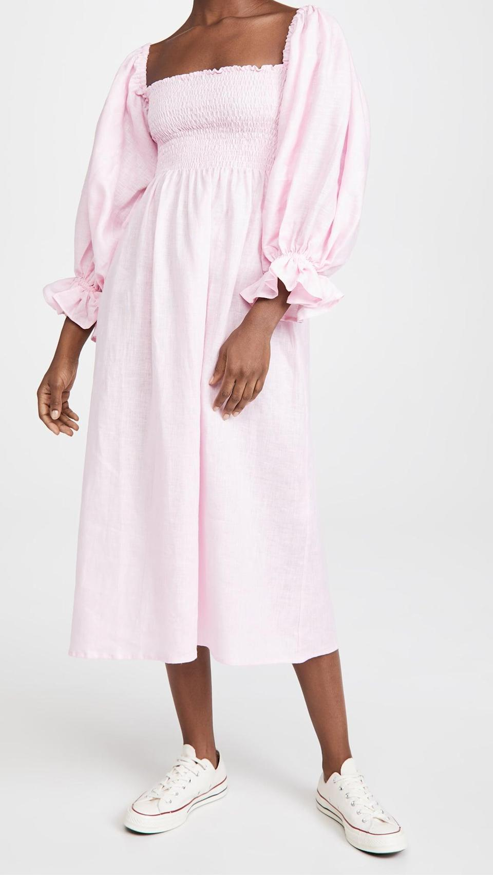 <p>We love everything about this <span>Sleeper Atlanta Linen Dress</span> ($320), which can be worn as a dress or nightgown.</p>